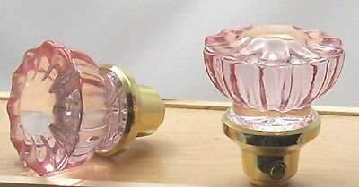 TWO TRUE PINKFLUTED CRYSTAL GLASS REPLACEMENT PASSAGE DOOR KNOBS with SPINDLE