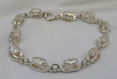 """Egyptian Sterling Silver Cut-out Scarab Bracelet 9"""" Beautiful"""