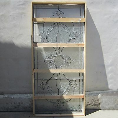 Leaded Large Glass Panel Crated Never Mounted Hand Cut Center Oval