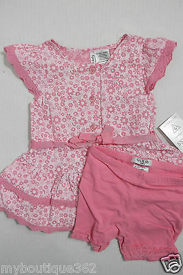 GUESS BABY GIRLS FLORAL BUTTON FRONT DRESS & SHORT SZ. 6/9 MOS NEW NWT