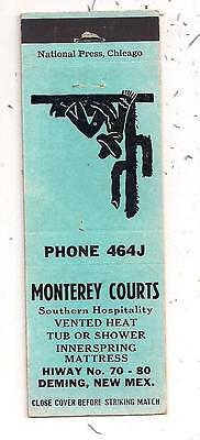 Monterey Courts Hwy 70 -80 Deming NM Luna County Matchcover 080212