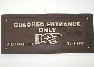 Colored Entrance Only - Black Americana Cast Iron Plaque