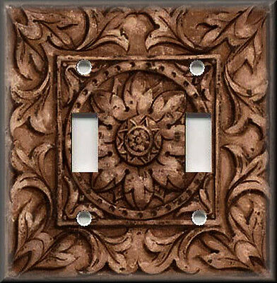 Metal Light Switch Plate Cover - Image Of Old World Medallion Brown Home Decor
