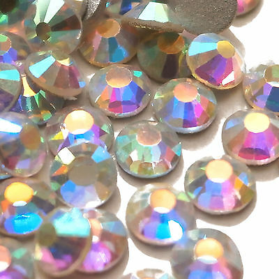 100pcs Crystal AB Non Hot Fix Flat Back Glass Rhinestones Diamante Gems