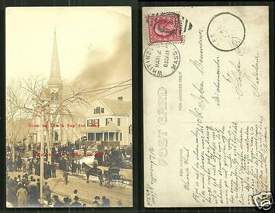 Whitinsville rppc Methodist Church on Fire MA stamp 1910