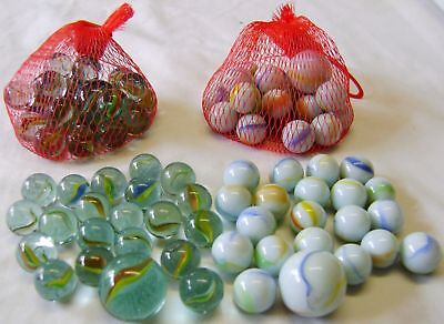 New 84 Clear & White Glass Marbles 4 Dobbers 80 Standard  Traditional 4 Nets Hb