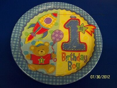 "Amscan Hugs /& Stitches Boy 1st Birthday Paper Tablecover 45/"" x 102/"" New"