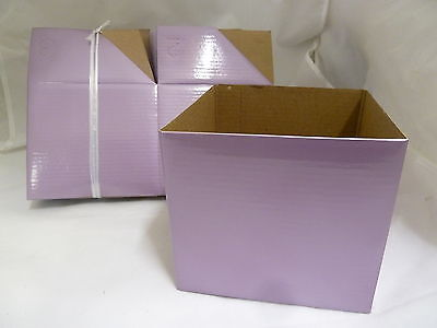 Coloured Boxes for gifts-25 Boxes 13cm sq- no lids **ONE COLOUR** METALLIC LILAC