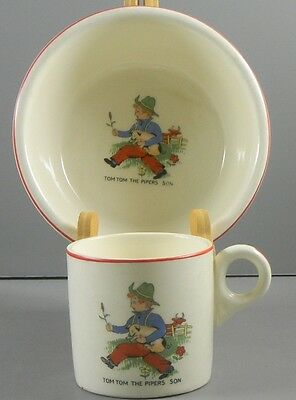 Child's Nursery Rhyme Cup & Bowl Tom Tom the Pipers Son Vintage