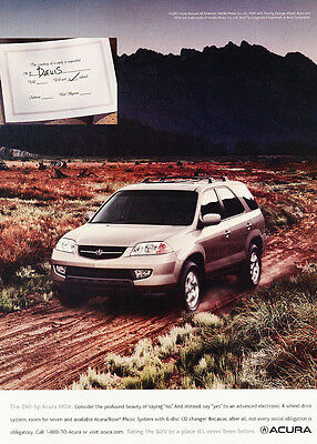 2002 Acura MDX - 240hp Davis - Classic Vintage Advertisement Ad H21