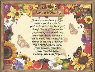 """Grandma, Nana Personalized Poem """"Nana Grandmother is a Blessing"""" Mother's Day"""