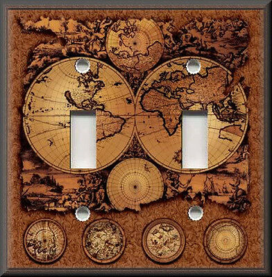 Metal Light Switch Plate Cover - Vintage - World Map Brown Travel Home Decor