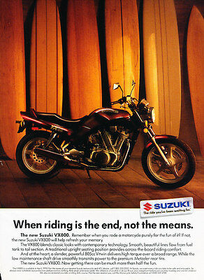 1989 Suzuki VX800 Motorcycle - Curtain - Classic Vintage Advertisement Ad D113