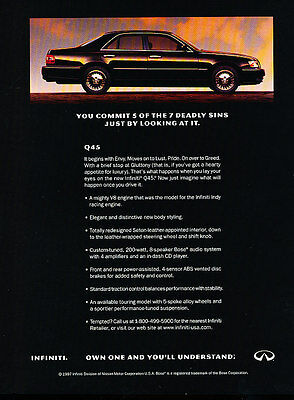 1997 Infiniti Q45 - Deadly - Classic Vintage Advertisement Ad D114