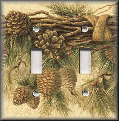 Metal Light Switch Plate Cover - Rustic Pine Cones - Lodge Decor Cabin Decor