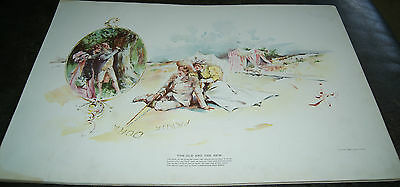 Antique Lithograph - The Old And The New by Charles Johnson - Lovers Carve Tree
