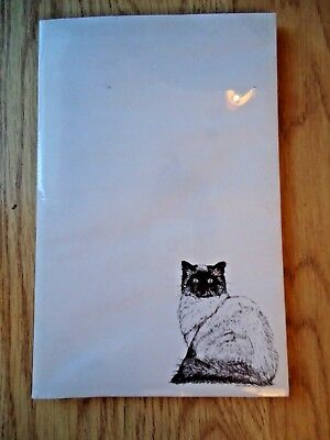 Himalayan Cat 3 Notepads 50 Sheets 8.5 x 5.5 New Black & White Drawing