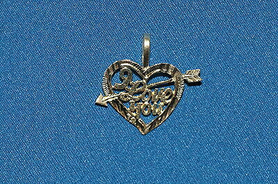14KT Solid Gold I Love You Heart Arrow Cupid Pendant Charm Jewelry .42g 14K
