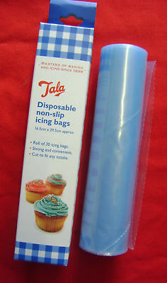 NEW TALA ROLL OF 30 QUALITY DISPOSABLE NON SLIP ICING BAGS. 16.5 x 29.5cms 9925
