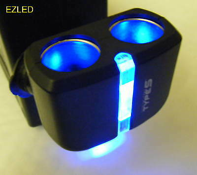 Car 12V Twin Power Socket With Blue Led Display Light For Night Driving New