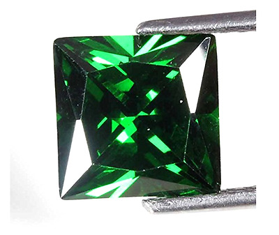 AAA Rated Square Faceted Bright Emerald Green Cubic Zirconia (2x2mm-16x16mm)