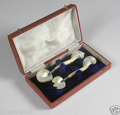 ANTIQUE RARE MOTHER OF PEARL Salad Spoon Fork Set British OCCUPIED INDIA W/BOX