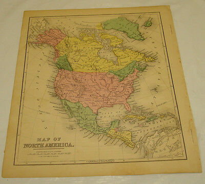 1871 WARREN Antique Map/NORTH AMERICA/Hand-Colored