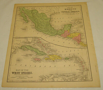 1871 WARREN Antique Map/MEXICO, CENTRAL AMERICA, WEST INDIES/Hand-Colored
