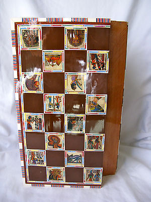 Egyptian Inlaid Papyrus Mother of Pearl Wooden Brown Chessboard Pieces 11.75""