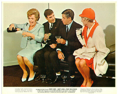 JANET LEIGH, JERRY LEWIS original lobby card 1966 THREE ON A COUCH