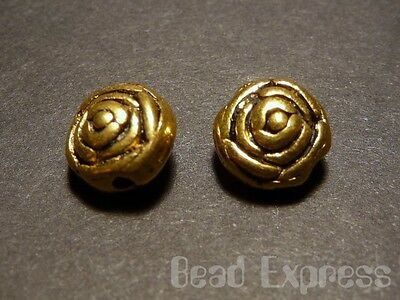 30pc 6.5mm Tibetan Silver Gold Plated Rose Flower Metal Spacer Round Beads T050