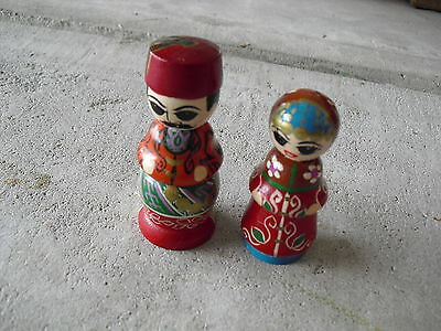 Set of 2 Vintage Wood Asian Man and Woman Figurines LOOK