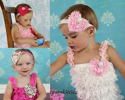 a55af5f706ad Baby Lace Petti Ruffle Romper Chiffon Heart Bow Headband Photo Prop Toddler  Girl