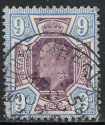 GREAT BRITAIN: SCOTT 136 USED F+ - 1902 9p ULTRA & DULL VIOLET - . CATALOG $70