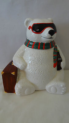 Cavanagh Christmas Coca Cola Bear Hollywood Suitcase Cookie Jar #e582