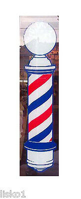"Traditional Barber Pole 22"" x 5"" window advertising static cling vinyl decal"