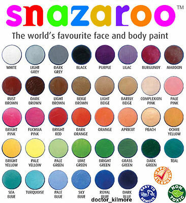 Snazaroo Face Body Paint Fancy Dress 18ml Make-Up 30 Classic Colours