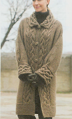 Ladies Cable Chunky Aran Style Coat- Cabled Collar & Deep Cuff  XS -XL To Knit
