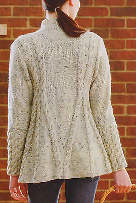 "Ladies Womans Aran A Line Cable Swing Jacket  34"" 56""  Knitting Pattern"