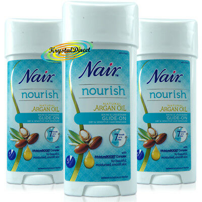 3x Nair Sensitive GLIDE-on Legs Bikini Hair Remover 100ml