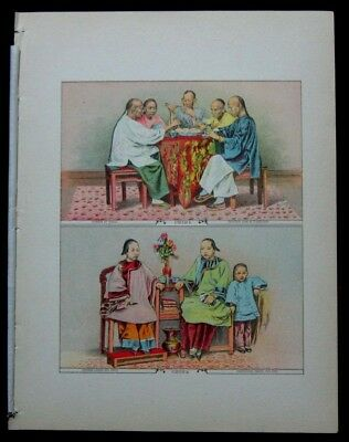 1886 Original Antique Print Chinese at Dinner Seating Ladies Child of China 16