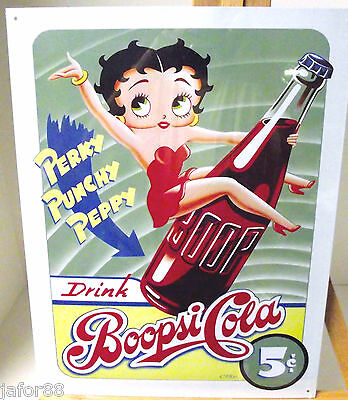 BETTY BOOP'S, BOOPSIE COLA, METAL SIGN, APO and FPO WELCOME