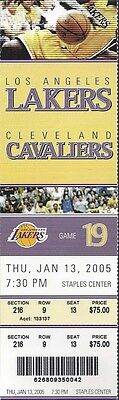 2005 Nba Cavaliers @ Lakers Full Unused Basketball Ticket - Staples Center