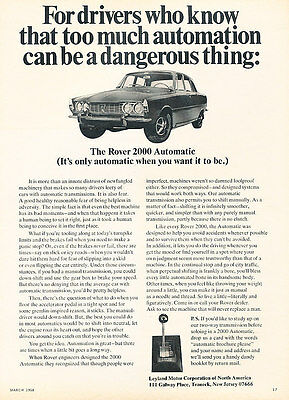 1968 Rover 2000 Automatic - Know - Classic Vintage Advertisement Ad D139