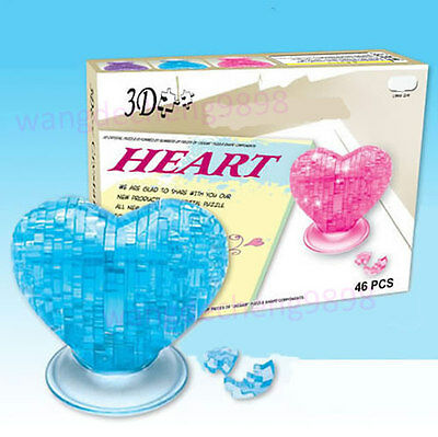 3D Crystal Puzzle Jigsaw Model DIY Gift Souptoy Gadget Love Heart IQ Toy Furnish