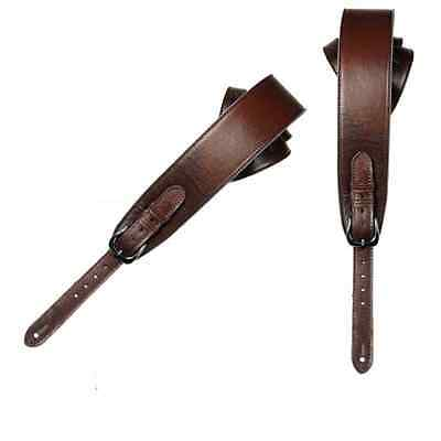 UK-made Brown Real Leather Strap + Soft Suede Back - ACOUSTIC BASS GUITAR - New