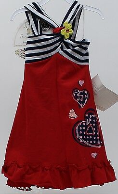 Sweet Heart Rose for Dollie & Me Red White Blue Convertible Halter Dress Sz 4 5