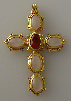 granulated 22K 18K gold cross pendant with mexican fire opal and rose quartz