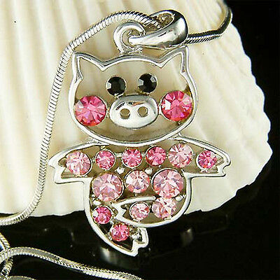 Pink PIG made with Swarovski crystal Piggy Piglet Charm Chain Necklace Cute Xmas