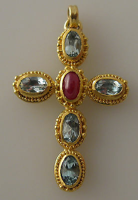 granulated 22K 18K gold cross pendant with aquamarines and ruby